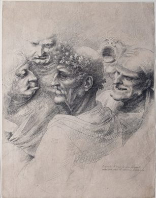 Wenceslao Hollar, Cinque teste grottesche, 1646, Lamporecchio, Fondazione Rossana & Carlo Pedretti, Acquaforte