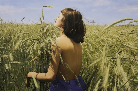 Yigal Ozeri, Untitled; Olya in the Field, Oil on paper - Mostra Beyond Reality, 13-28 dicembre 2018, Opera Gallery, Londra