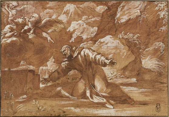 Circle of Annibale Carracci, St. Francis Kneeling in Ecstasy Before a Crucifix, n.d. Credit: Private collection, Los Angeles