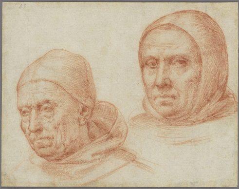 Fra Bartolommeo (Baccio della Porta), Heads of Two Dominican Friars.  Credit The J. Paul Getty Museum, Los Angeles