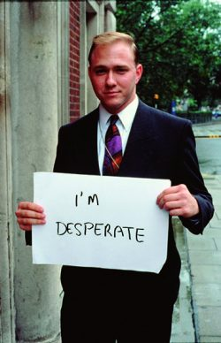 """Gillian Wearing, I'm Desperate - From the series """"Signs that Say What You Want Them To Say and Not Signs that Say What Someone Else Wants You To Say"""". 1992-93. Courtesy: Maureen Paley, London"""