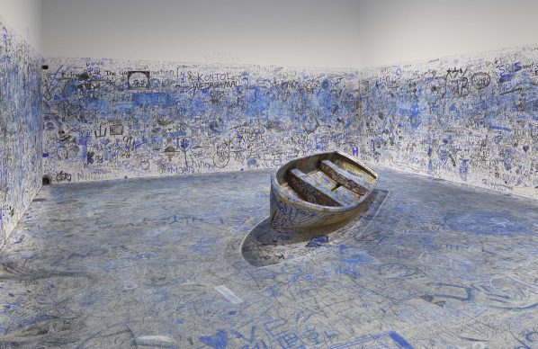 """Yoko Ono, Add Color Painting (Refugee Boat), 1960 / 2016-2018. Collection of the artist. Installation view: """"Catastrophe and the Power of Art"""", Mori Art Museum, Tokyo, 2018. Photo: Kioku Keizo. Photo courtesy: Mori Art Museum, Tokyo"""