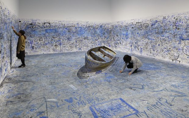 """Yoko Ono, Add Color Painting (Refugee Boat), 1960 / 2016-2018, Collection of the artist. Installation view: """"Catastrophe and the Power of Art,"""" Mori art Museum, Tokyo, 2018. Photo: Kioku Keizo. Photo courtesy: Mori Art Museum, Tokyo"""