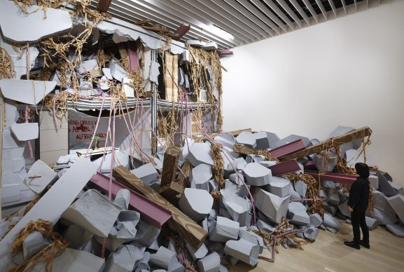 """Thomas Hirschhorn, Collapse, 2018 -  Collection of the artist. Production support: The Institute of Art, Okutama. Courtesy: Galerie Chantal Crousel, Paris. Installation view: """"Catastrophe and the Power of Art,"""" Mori art Museum, Tokyo, 2018 Photo: Kioku Keizo Photo courtesy: Mori Art Museum, Tokyo"""