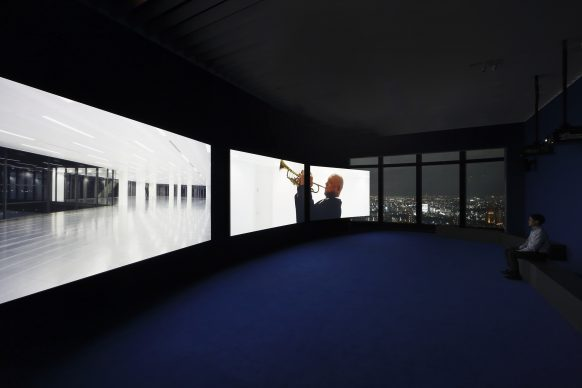 "Isaac Julien, PLAYTIME, 2014. Collection of the artist. Courtesy: Victoria Miro, London. Installation view: ""Catastrophe and the Power of Art,"" Mori art Museum, Tokyo, 2018. Photo: Kioku Keizo. Photo courtesy: Mori Art Museum, Tokyo"