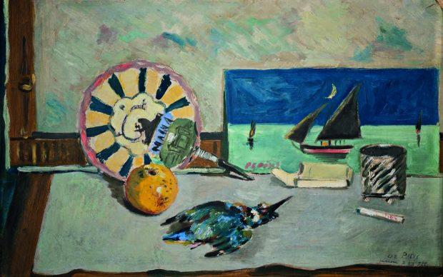"""Filippo de Pisis: Natura morta col martin pescatore, 1925 Olio su cartone, cm 46 x 71,5. Ferrara, Museo d'Arte Moderna e Contemporanea """"Filippo de Pisis"""""""