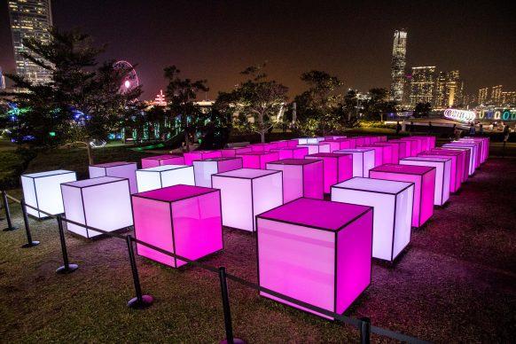 40 Hexaedron, Hong Kong Pulse Light Festival, International Light Art Display. Photo by Zhizhao Wu/Getty Images for Hong Kong Tourism Board