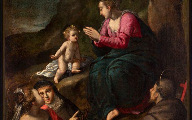 Ippolito Scarsella (1551-1620), Madonna di Reggio e Santi, 1600 circa, tela cm 144,5 x 112,5, Ferrara, Azienda Servizi alla Persona, inv. DOC18 (in deposito presso i Musei di Arte Antica)