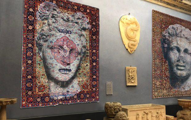 Luca Pignatelli, Persepoli, 2018, tecnica mista su tappeto persiano, Museo Bardini, Firenze