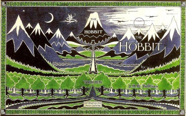 Sovracoperta della prima edizione de Lo Hobbit di J.R.R. Tolkien, 1937