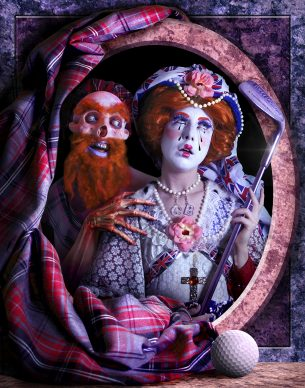 Rachel Maclean, The Queen, 2013. Digital print on paper, Lent by Edinburgh Printmakers. Commissioned and published by Edinburgh Printmakers, 2013 © Rachel Maclean