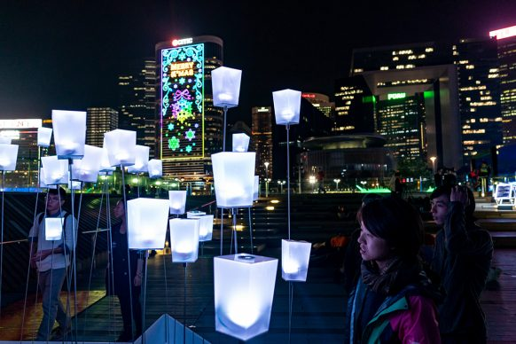Tapping, Hong Kong Pulse Light Festival, International Light Art Display -Photo by Anthony Kwan/Getty Images for Hong Kong Tourism Board