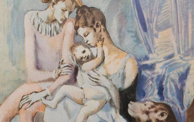 Pablo Picasso Famille de saltimbanques avec un singe, 1905 Gouache, watercolour and ink on cardboard, 104 x 75 cm Göteborg Konstmuseum, Purchase 1922 © Succession Picasso / 2018, ProLitteris, Zurich Photo: © Göteborg Konstmuseum