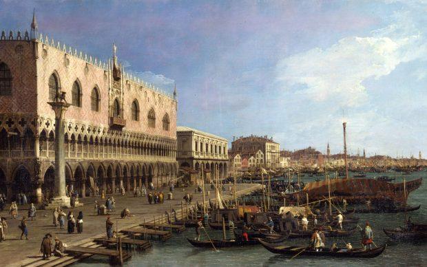 Antonio Canal detto Canaletto Il molo verso est con la colonna di S. Marco Olio su tela, cm 111 x 186 (inv. 1473) Milano, Raccolte d'Arte Antica e Pinacoteca del Castello Sforzesco