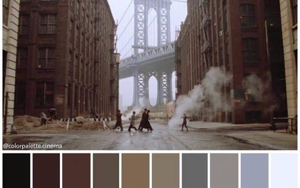 C'era una volta in America, regia di Sergio Leone, palette cromatica by Color Palette Cinema, fonte Facebook