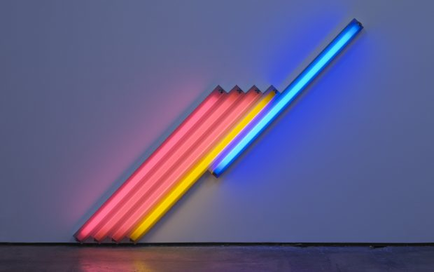 Dan Flavin, Untitled (for Frederika and Ian) 3, 1987. Edition 2 of 5 (CL no. 472) © 2018 Estate of Dan Flavin / Artists Rights Society (ARS), New York. Courtesy David Zwirner & Cardi Gallery