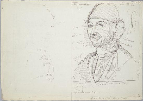 Giovan Battista Cavalcaselle, Ritratto d'uomo, Cefalù, da Antonello da Messina, 30 x 21 ,1 cm, Biblioteca Nazionale Marciana, Venezia