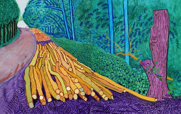 "David Hockney, More Felled Trees on Woldgate, 2008, Oil on 2 canvases (60 x 48"" each), 60 x 96'' overall © David Hockney, Photo Credit: Richard Schmidt"