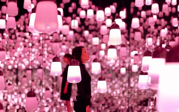 TeamLab Mori Museum_Forest of Resonating Lamps - One Stroke, Cherry Blossoms