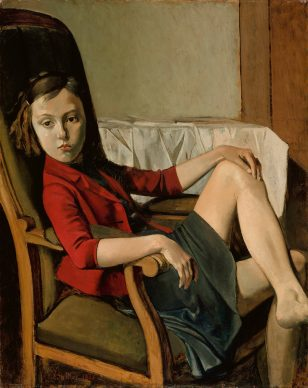 Balthus, Thérèse, 1938. Oil on cardboard mounted on wood, 100.3 x 81.3 cm, The Metropolitan Museum of Art, New York Bequest of Mr. and Mrs. Allan D. Emil, in honor of William S. Lieberman, 1987 © Balthus, 2019