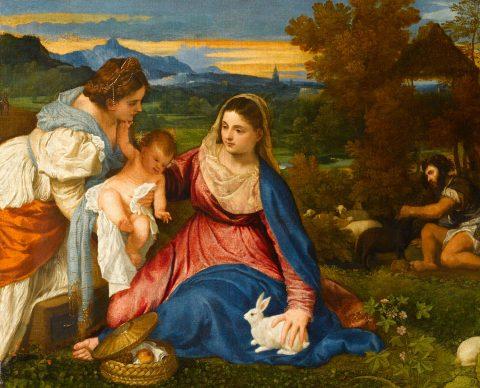 """Tiziano, Madonna and Child, St Catherine and a Shepherd (the """"Madonna of the Rabbit""""), c. 1530. Oil on canvas, 71 x 87 cm Paris, Musée du Louvre, Département des Peintures ©bpk / RMN - Grand Palais / Michèle Bellot"""