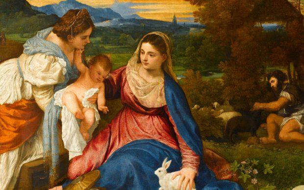 """Titian (c. 1488/90–1576) Madonna and Child, St Catherine and a Shepherd (the """"Madonna of the Rabbit""""), c. 1530 Oil on canvas, 71 x 87 cm Paris, Musée du Louvre, Département des Peintures ©bpk / RMN - Grand Palais / Michèle Bellot"""
