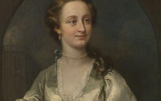 William Hogarth, Ritratto di Signora in abito bianco e orecchini di perle
