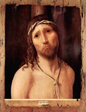 Antonello da Messina, Ecce Homo, 1475, olio su tavola (rovere?), 48,5 × 38 cm (la parte dipinta 43 x  32,4 cm), Collegio Alberoni, Piacenza. Crediti fotografici: © 2018 Foto Scala, Firenze