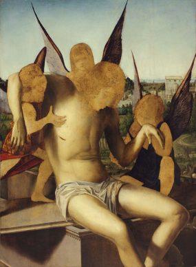 Antonello da Messina, Cristo morto sorretto da tre angeli, 1476 - 1477, olio su tavola di pioppo, 115 x 85,5, Museo Correr, Venezia. Crediti fotografici:  2018 © Archivio Fotografico   - Fondazione Musei Civici di Venezia