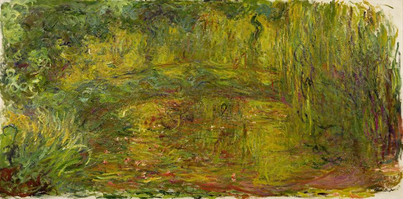 "Claude Monet, ""Japanese Bridge"", 1918–1924 Oil on canvas 39 3/8 x 78 3/4 in. (100 x 200 cm) Musée Marmottan Monet, Michel Monet Bequest, 1966, inv. 5077. Image courtesy of the Fine Arts Museums of San Francisco"