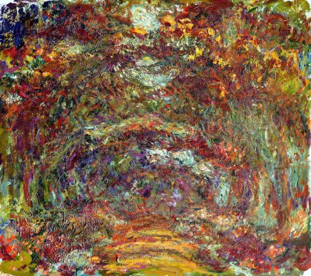 """Claude Monet, Path under the Rose Arches"""", Giverny, 1918–1924 Oil on canvas 35 x 39 3/8 in. (89 x 100 cm) Musée Marmottan Monet, Michel Monet Bequest, 1966, inv. 5089. Image courtesy of the Fine Arts Museums of San Francisco"""