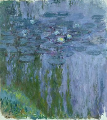 """Claude Monet, """"Water Lilies, Willow Reflection"""", 1916–1919 Oil on canvas 78 3/4 x 70 3/4 in. (200 x 180 cm) Musée Marmottan Monet, Michel Monet Bequest, 1966, inv. 5119. Image courtesy of the Fine Arts Museums of San Francisco"""