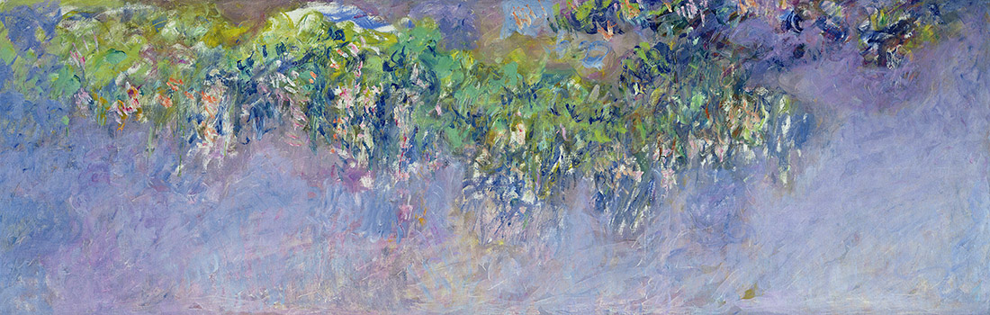 """Claude Monet, """"Wisteria"""", 1916–1919 Oil on canvas 39 3/8 x 118 1/8 in. (100 x 300 cm). Musée Marmottan Monet, Michel Monet Bequest, 1966, inv. 5124. Image courtesy of the Fine Arts Museums of San Francisco"""