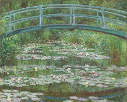 """Claude Monet, """"Water Lily Pond (Japanese Bridge)"""",1899 Oil on canvas 32 x 40 in. (81.3 x 101.6 cm) National Gallery of Art, Washington Gift of Victoria Nebeker Coberly, in memory of her son John W. Mudd, and Walter H. and Leonore Annenberg 1992.9.1. Image Courtesy of the Fine Arts Museums of San Francisco"""