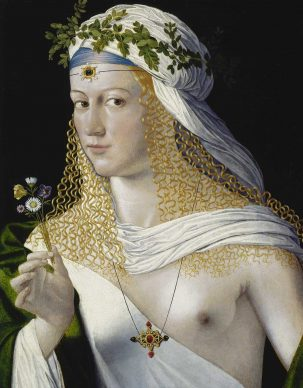 Bartolomeo Veneto, Ideal Portrait of a Young Woman as Flora , c. 1520 (?). Oil on poplar, 43,6 x 34,6 cm, Frankfurt am Main, Städel Museum © Städel Museum – ARTOTHEK
