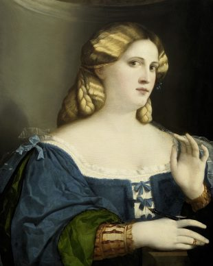 Jacopo Palma il Vecchio, Young Woman in a Blue Dress with Fan, c. 1512–14. Oil on poplar, 63,5 x 51 cm Wien, Kunsthistorisches Museum, Gemäldegalerie © KHM-Museumsverband