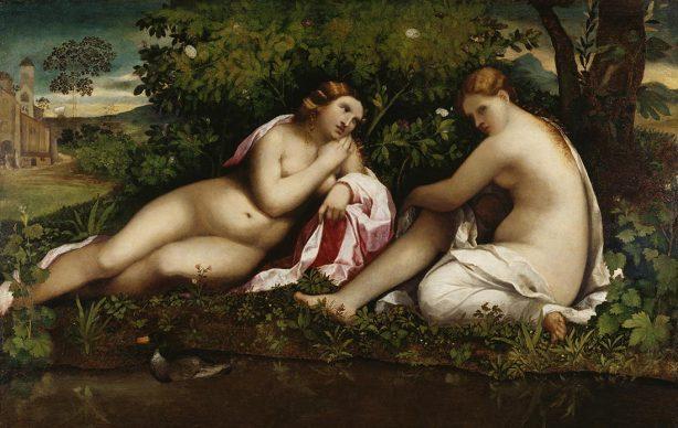 Jacopo Palma il Vecchio, Two Reposing Nymphs, c. 1510–15. Oil on poplar, 98,3 x 152,4 cm, Frankfurt am Main, Städel Museum © Städel Museum – ARTOTHEK