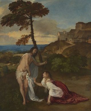 Tiziano, Noli me Tangere, ca. 1514. Oil on canvas, 110,5 x 91,9 cm, London, The National Gallery © The National Gallery, London. Bequeathed by Samuel Rogers, 1856