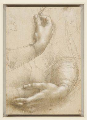 Leonardo da Vinci (Vinci, 1452 -Amboise, 1519), Braccia e mani femminili; Testa maschile in profilo, 1474-1486 circa, punta d'argento e punta di piombo, con ritocchi successivi dei profili in matita nero-grigiastra tenera, il tutto lumeggiato con biacca a pennello e a gouache, su carta preparata leggermente in rosa color pelle, mm 215 x 150 . Castello di Windsor, Royal Library, The Royal Collection Trust, inv. RCIN 912558 (concesso in prestito da Sua Maestà la Regina Elisabetta II). Royal Collection Trust / © Her Majesty Queen Elizabeth II 2019