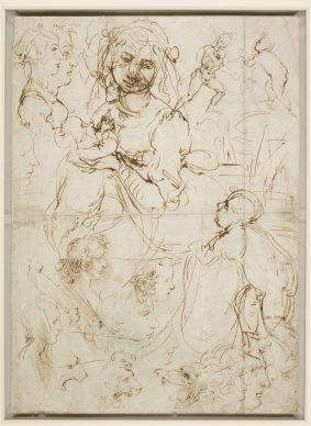 Leonardo da Vinci (Vinci, 1452 -Amboise, 1519), Teste e figure a mezzo busto,viste di profilo, Madonna che allatta il Bambino contro un paesaggio, con san Giovannino,Figura maschile stante, Teste dileone, Un drago (recto), Teste efigure a mezzo busto, una dellequali tagliataa tre quarti (verso), 1478 circa, penna e due diversi inchiostri bruni, mm 405 x 290. Castello di Windsor, Royal Library, The Royal Collection