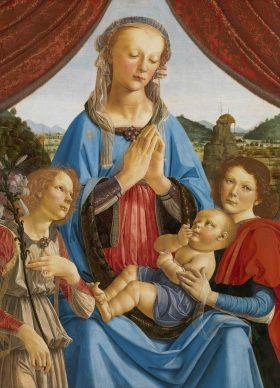 Andrea del Verrocchio (Firenze, 1435 circa -Venezia, 1488), Madonna col Bambino e due angeli (Madonna di Volterra), 1471-1472 circa, tempera su tavola, cm 96,5 x 70,5. Londra, The National Gallery, inv. NG296 (acquisto 1857) © The National Gallery, London.