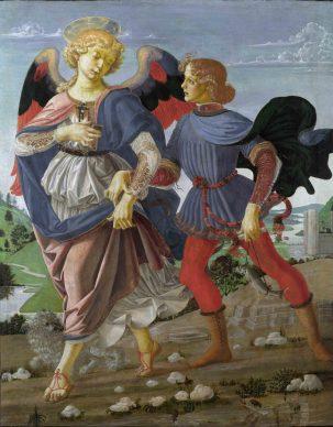 Andrea del Verrocchio (Firenze, 1435 circa -Venezia, 1488) e bottega, L'arcangelo Raffaele e Tobiolo, 1470-1472 circa, tempera su tavola, cm 83,6 x 66. Londra, The National Gallery, inv. NG781 (acquisto 1867) © The National Gallery, London