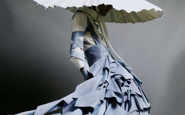 """Alessandro Trincone, dress, """"Annodami"""" Collection, Spring/Summer 2017. Cotton, synthetic. Model: Andrea Antonelli. Photograph by Gioconda and August."""