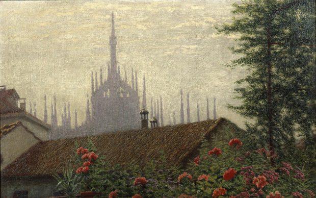 Angelo Morbelli, Le guglie del Duomo, 1915-1917, Olio su tela, Milano, Palazzo Morando – costume, moda, immagine