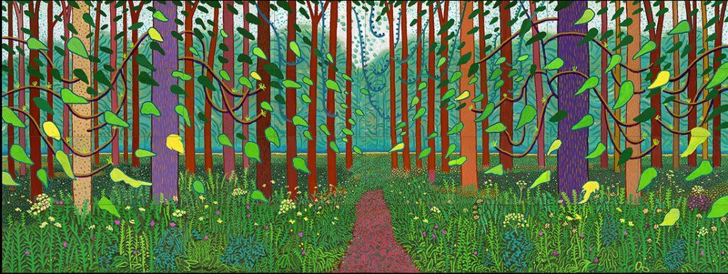"David Hockney, The Arrival of Spring in Woldgate, East Yorkshire in 2011 (twenty eleven), Oil on 32 canvases (36 x 48"" each), 144 x 384"" overall © David Hockney, Photo Credit: Richard Schmidt, Centre Pompidou, Paris. Musée national d'art moderne – Centre de création industrielle"