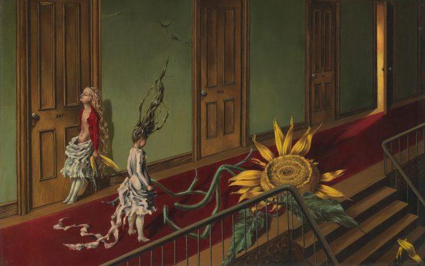 Dorothea Tanning, Eine Kleine Nachtmusik, 1943, Oil paint on canvas, 407 x 610 mm, Tate © DACS, 2019