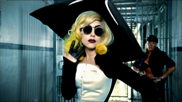 """Lady Gaga in the video for the song """"Telephone"""" (The Fame Monster album), 2010, directed by Jonas Åkerlund. Outfit: Thierry Mugler, Anniversaire des 20 ans collection, prêt-à-porter fall/winter 1995–1996"""