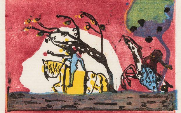 Wassily Kandinsky, Zwei Reiter vor Rot, 1911 Farbholzschnitt mit den vier Druckstöcken in Gelb, Rot, Blau und Schwarz, 105×157 mm © Privatbesitz. Foto: SKD, A. Diesend
