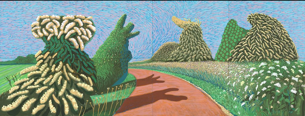 """David Hockney, May Blossom on the Roman Road, 2009, Oil on 8 canvases (36 x 48"""" each), 72 x 192"""" overall © David Hockney, Photo Credit: Richard Schmidt"""