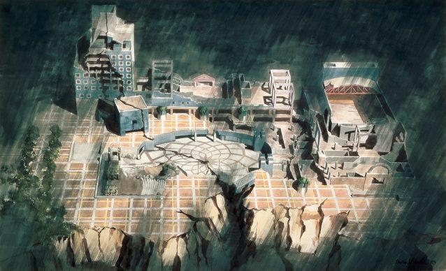 Arata Isozaki, Tsukuba Center Building, 1979-83, Ibaraki, Japan - Drawing courtesy of Arata Isozaki and Associates
